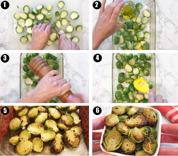 How to roast brussels sprouts, a step by step photo collage
