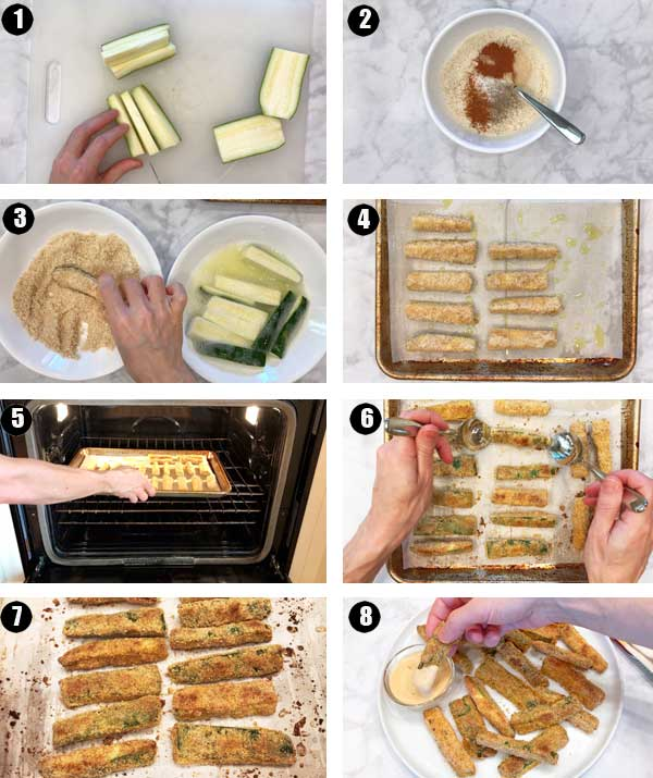 How to make zucchini fries, a photo collage