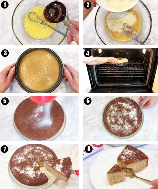 How to make almond flour cake, a photo collage