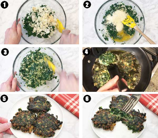 How to make spinach fritters, a photo collage