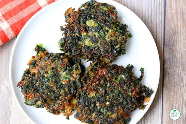 Spinach Fritters on a plate