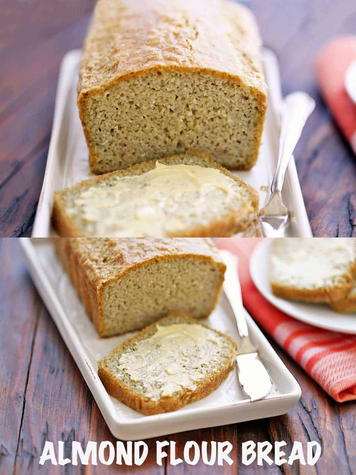 Almond flour bread topped with butter