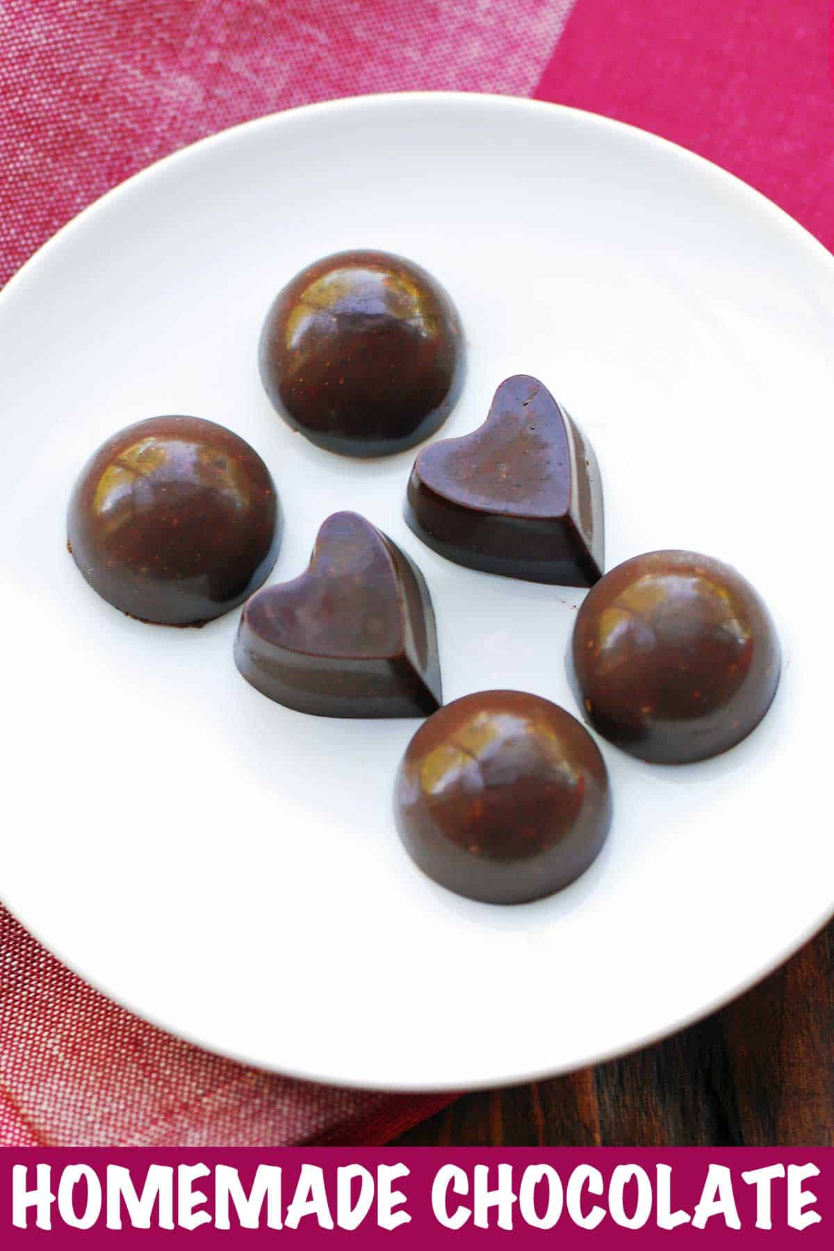 Homemade chocolate bonbons on a plate