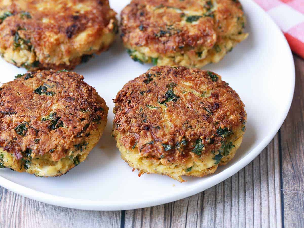 Keto crab cakes on a white plate