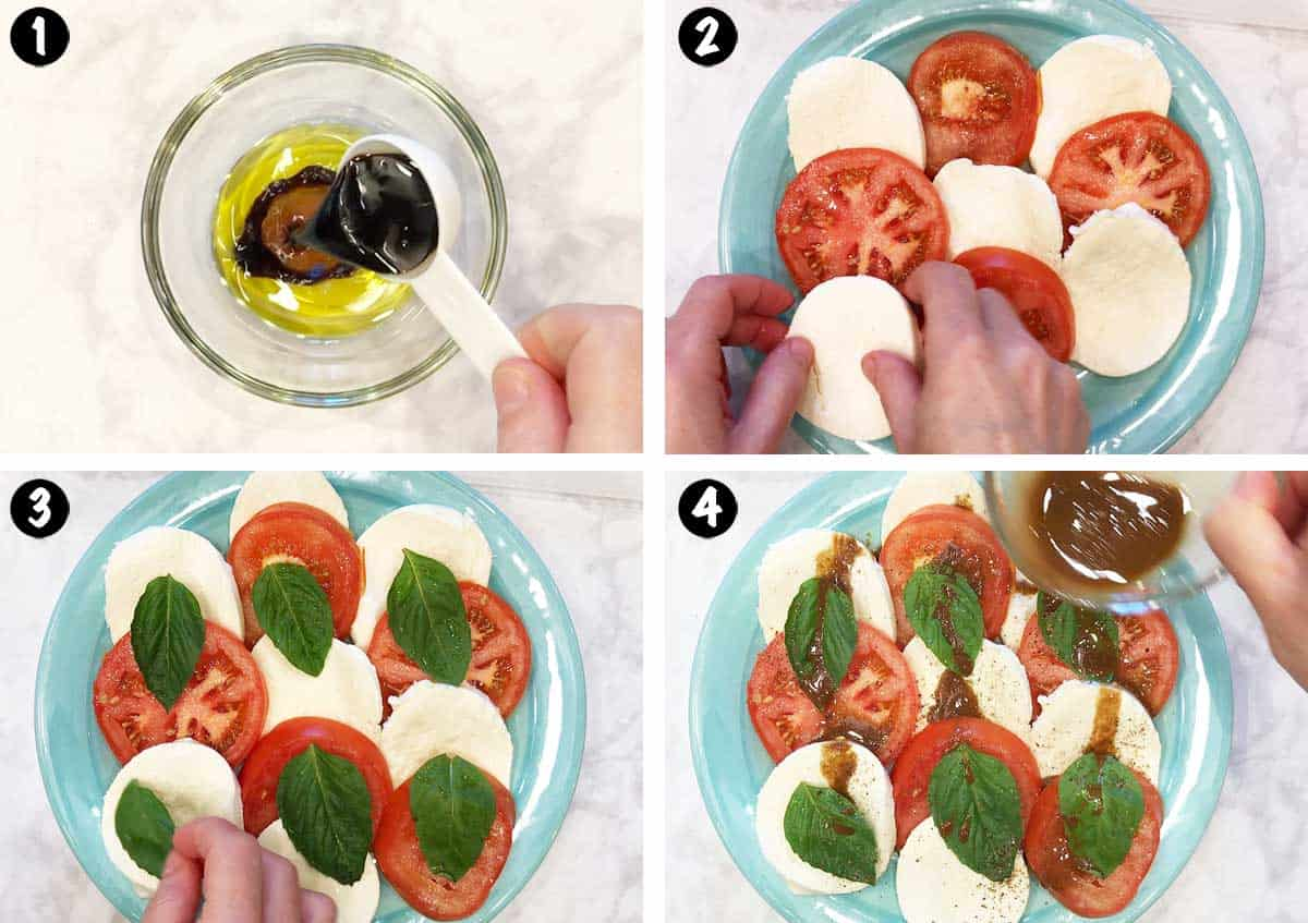 A photo collage showing the steps for making a caprese salad.