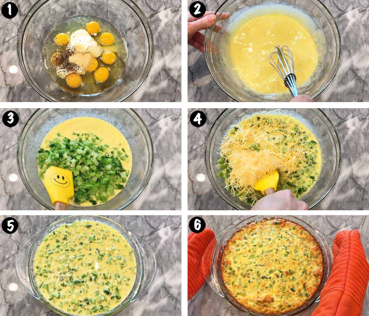 A photo collage showing the steps for making a crustless quiche