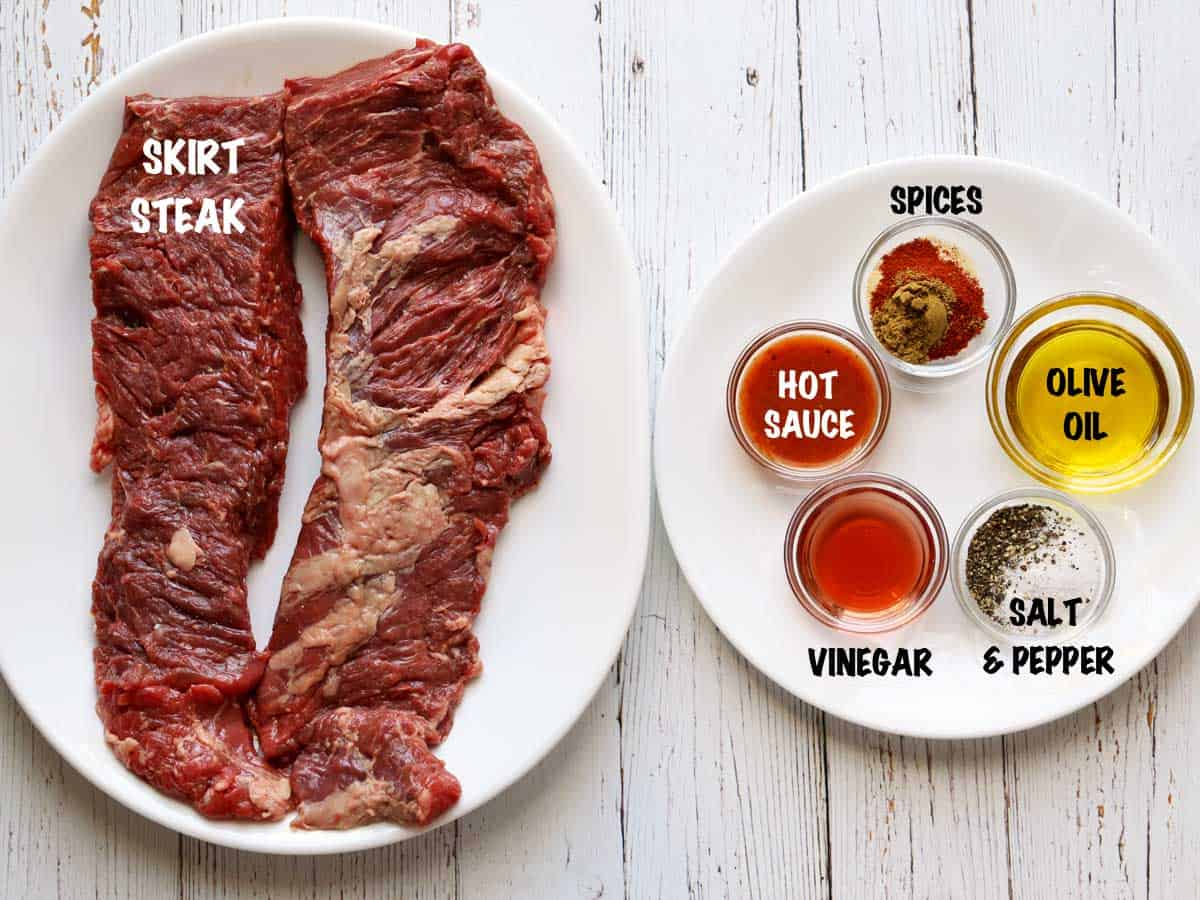 The ingredients needed to cook a skirt steak on the grill.
