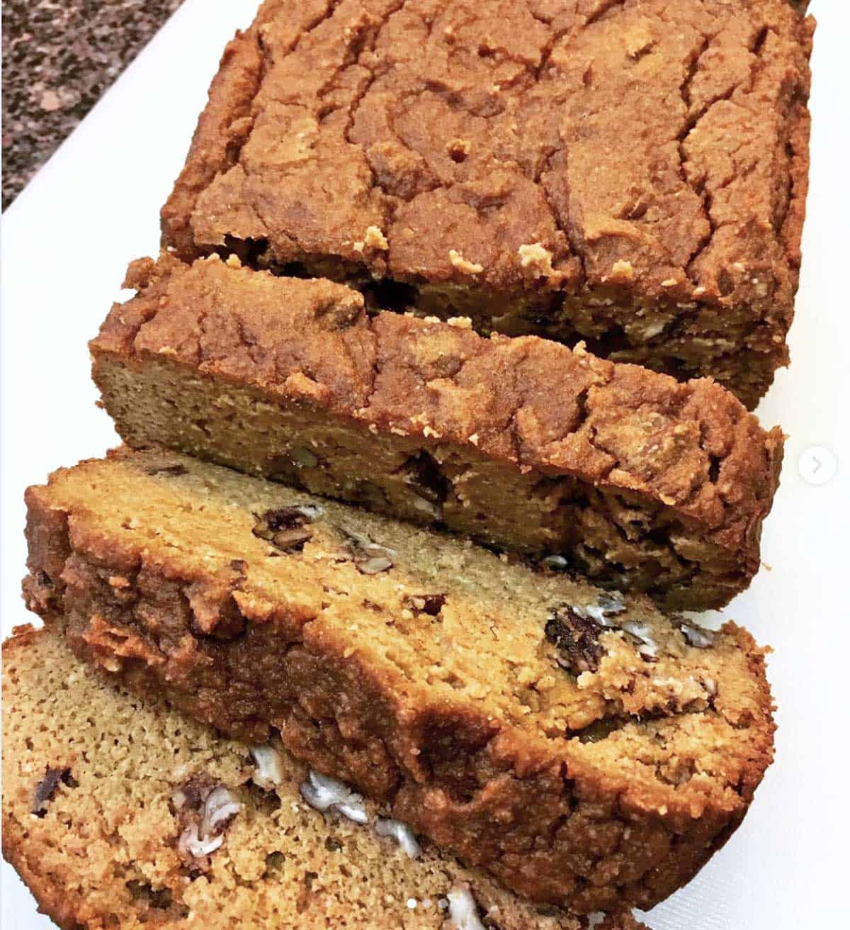 Reader photo of a sliced low-carb pumpkin bread.