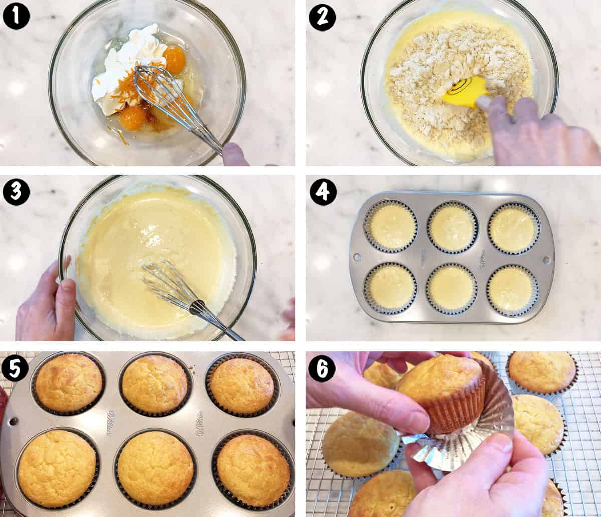 A photo collage showing the steps for making keto muffins.