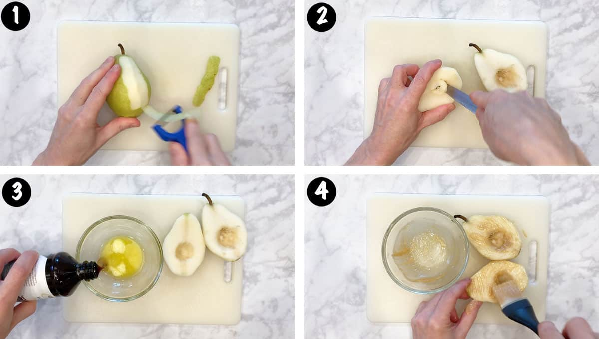 A photo collage showing steps 1-4 for making baked pears.