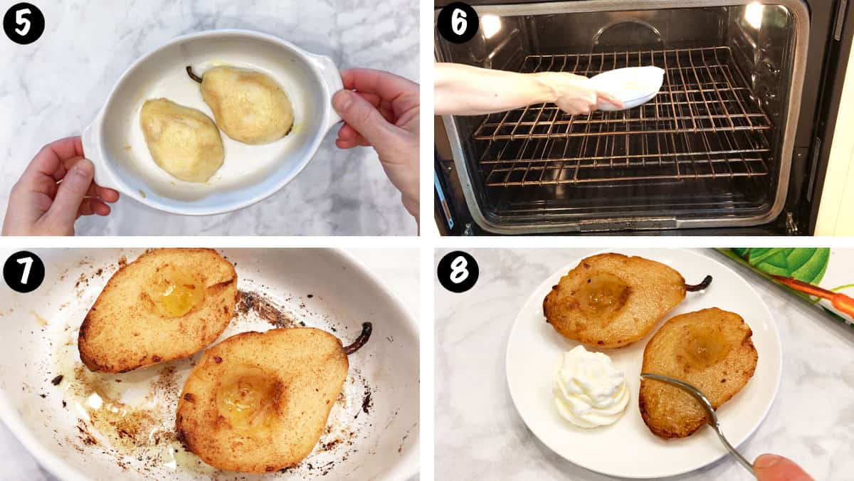 A photo collage showing steps 5-8 for baking pears in the oven.