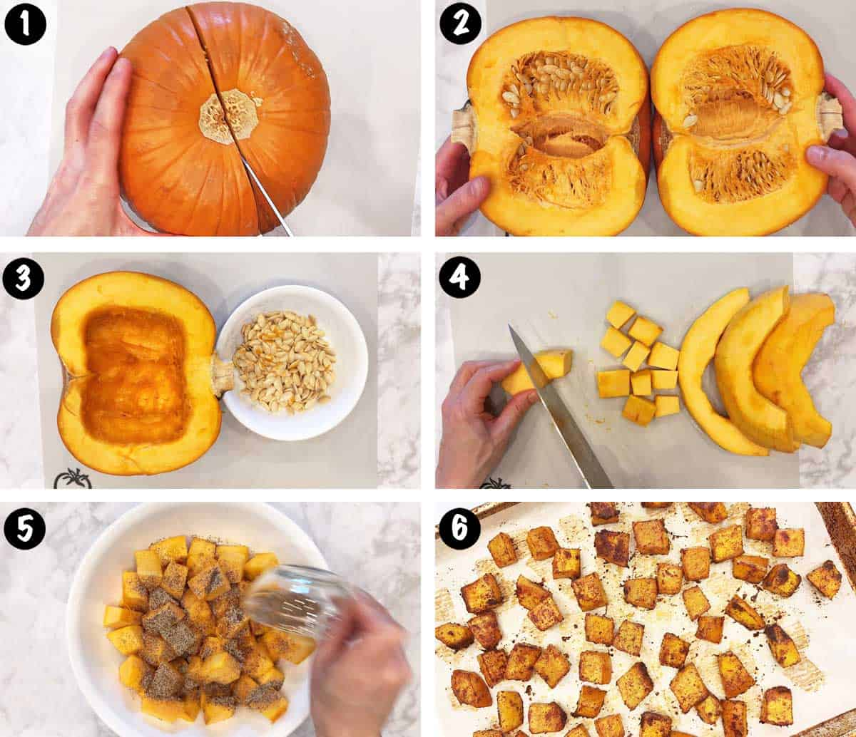 A photo collage showing the steps for roasting pumpkin cubes.