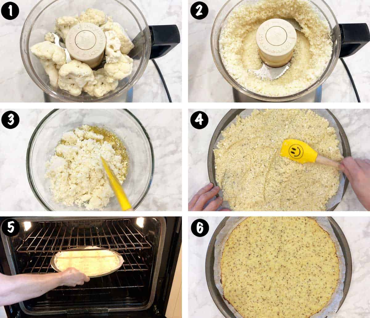 A photo collage showing steps 1-6 for making a cauliflower pizza crust.