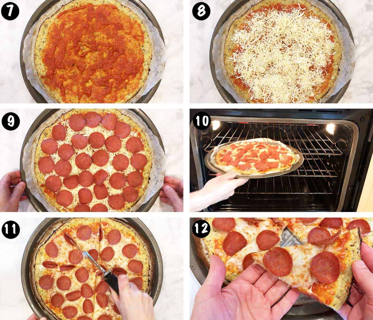 A photo collage showing steps 7-12 for making a pizza crust out of cauliflower.
