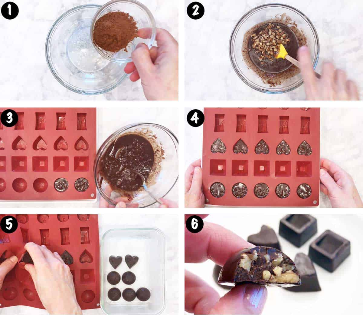 A photo collage showing the steps for making homemade chocolate.