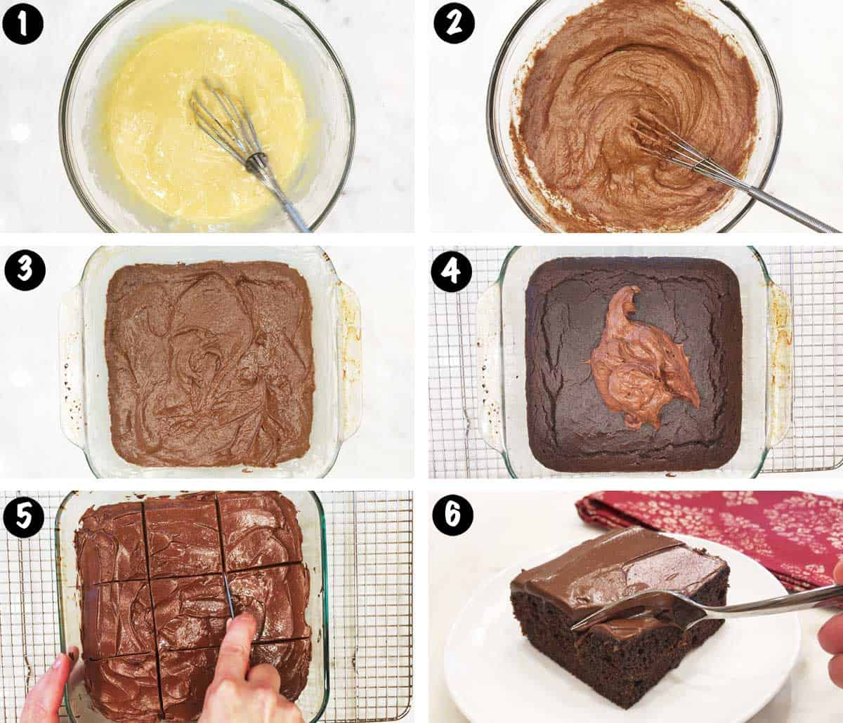 A photo collage showing the steps for making a low-carb chocolate cake.