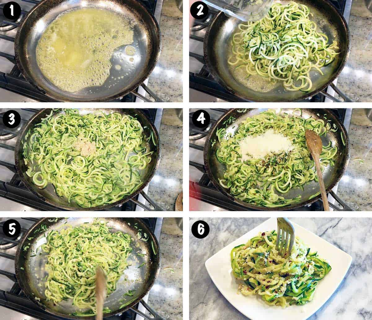 A photo collage showing the steps for making zucchini noodles.