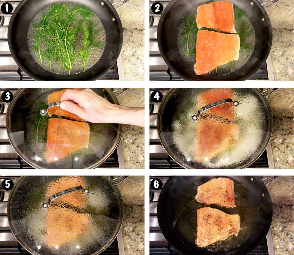 A photo collage showing the steps for poaching salmon.