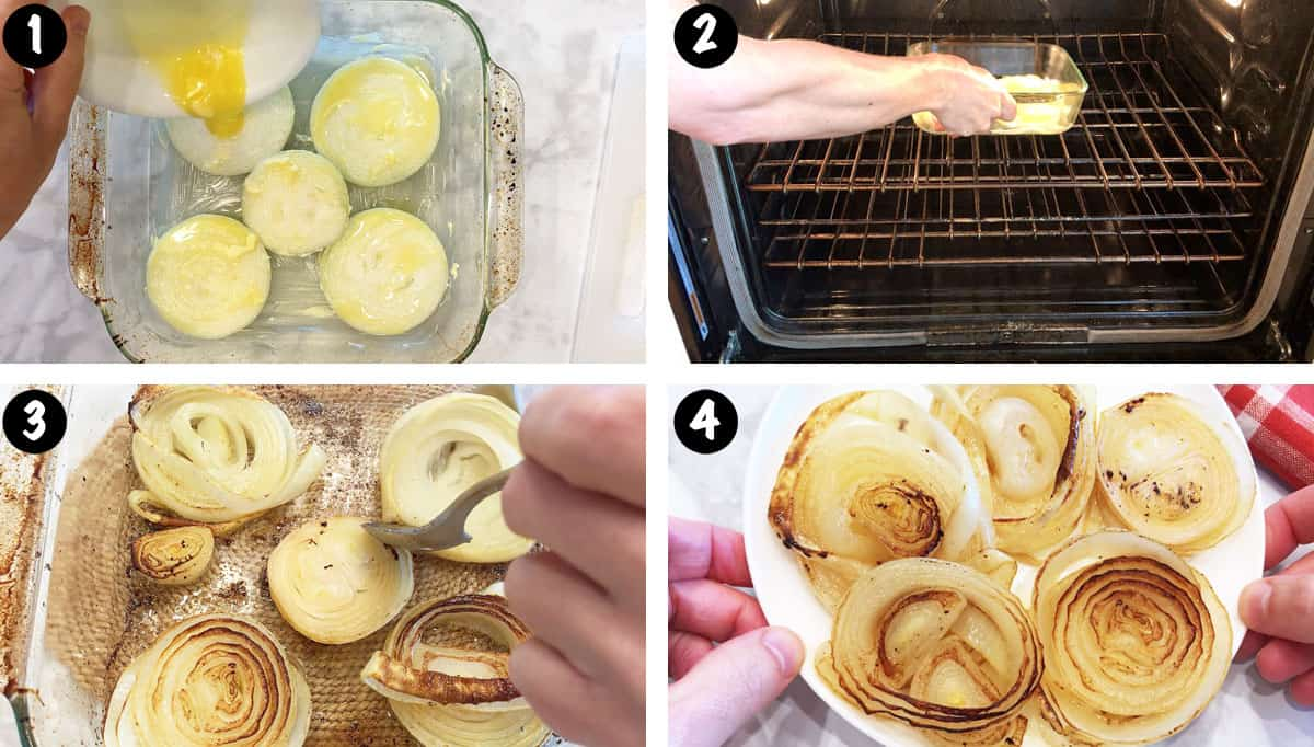 A photo collage showing the steps for roasting onions in the oven.