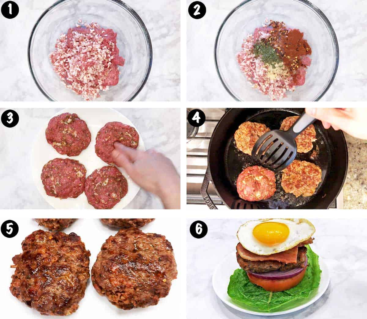 A photo collage showing the steps for making bacon burgers.