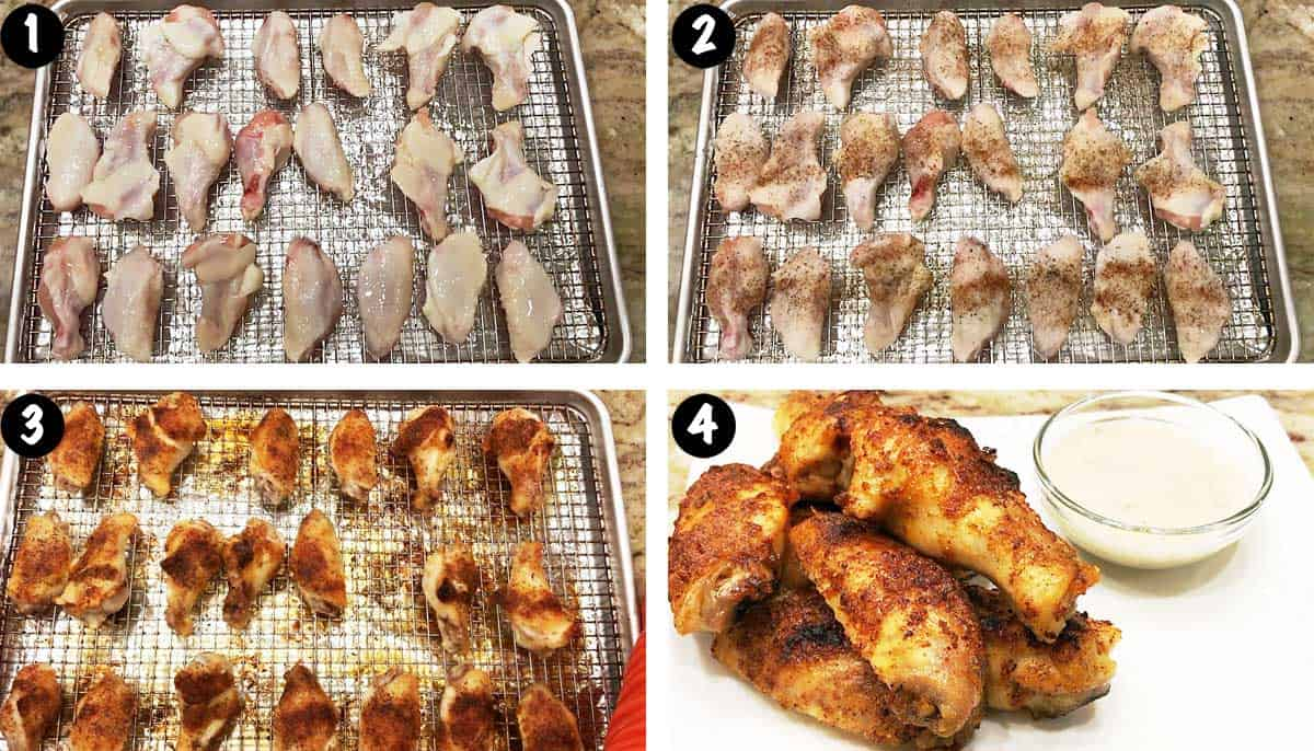A photo collage showing the steps for baking chicken wings in the oven.