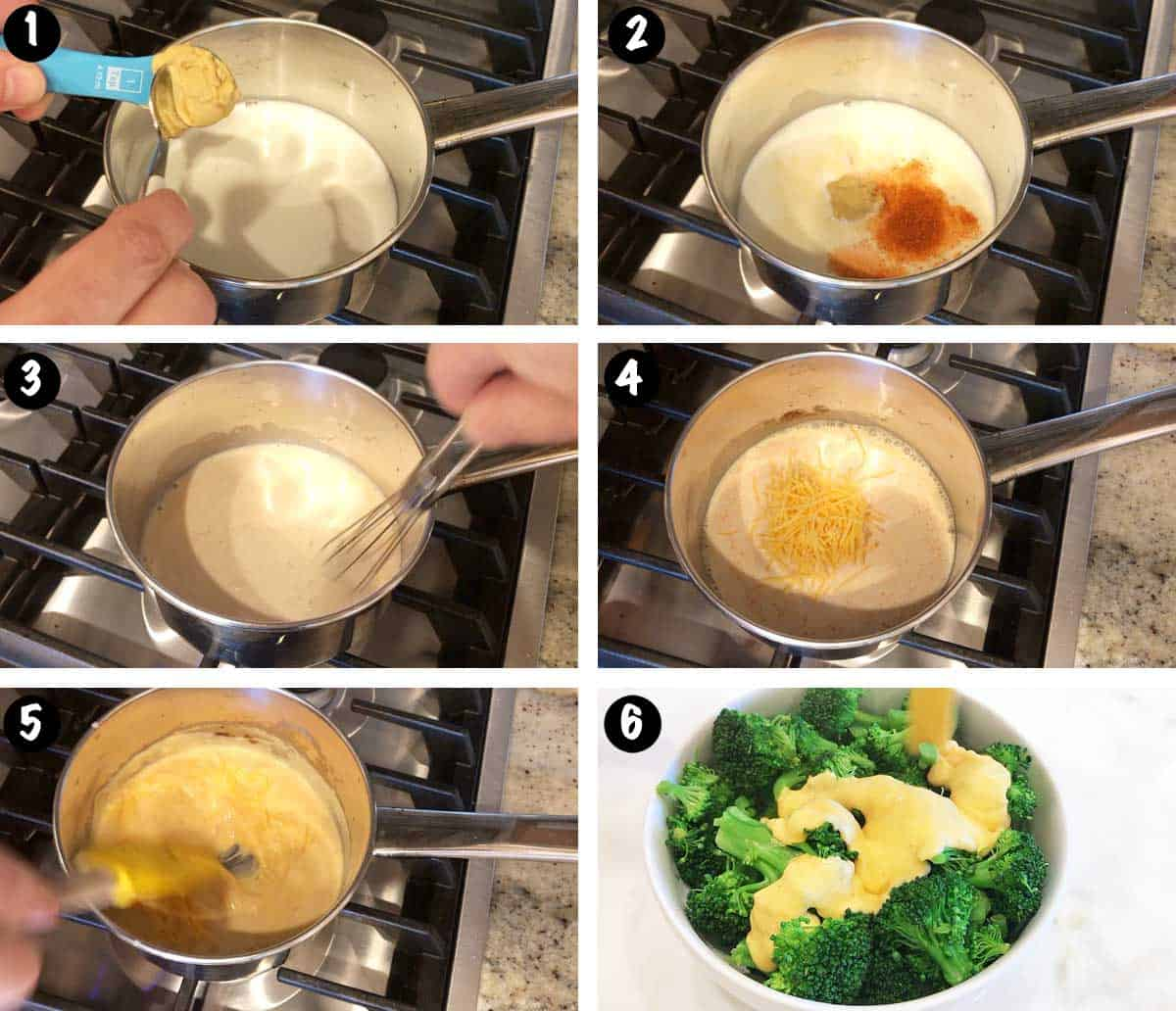 A photo collage showing the steps for making a cheese sauce for broccoli.