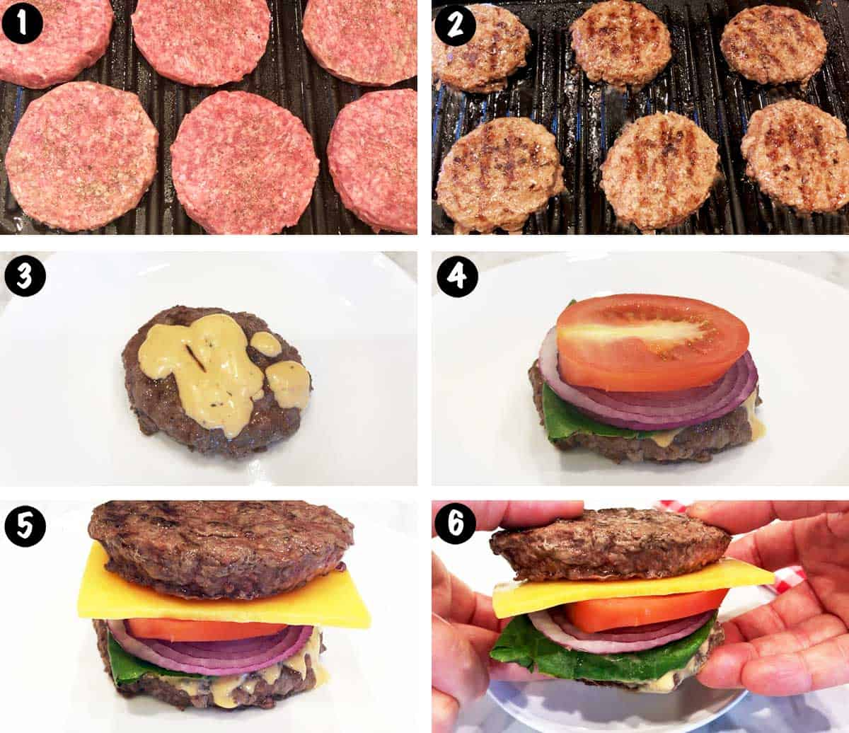 A photo collage showing the steps for making a bunless burger.