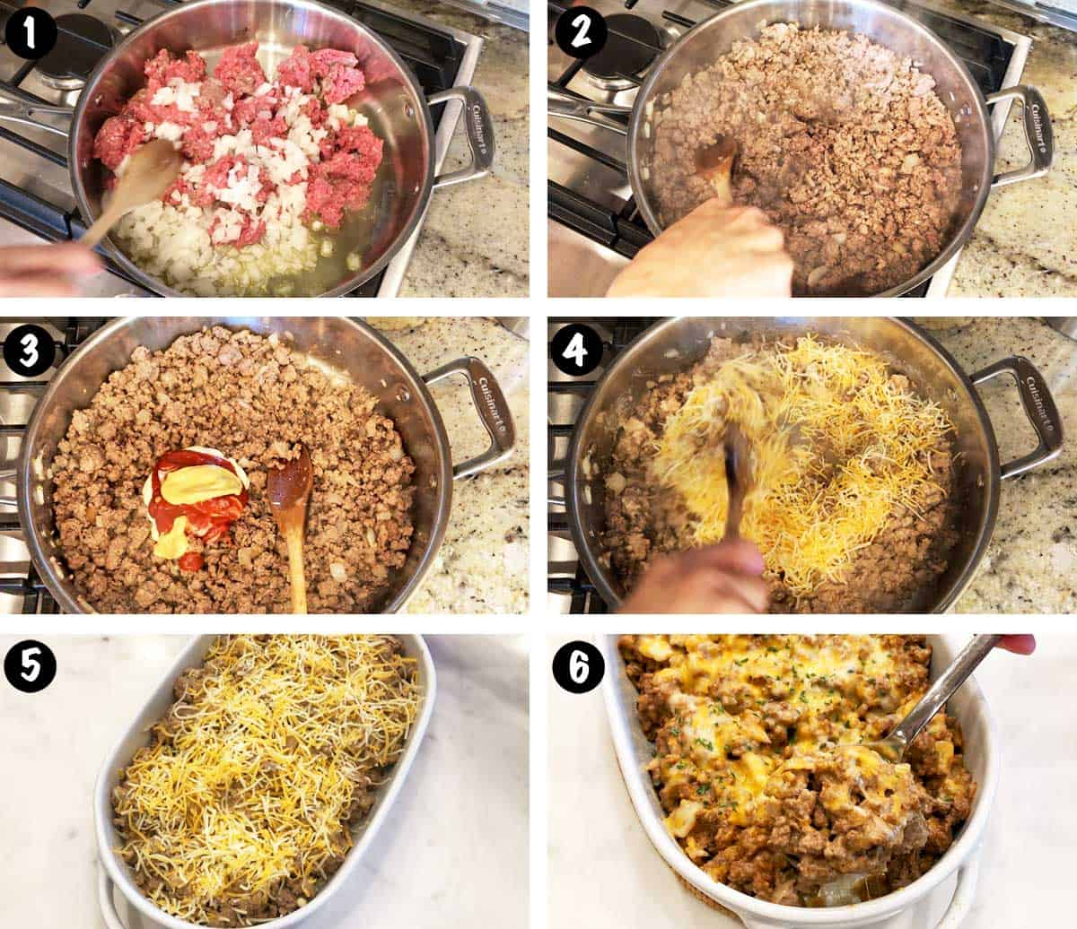 A photo collage showing the steps for making a low-carb cheeseburger casserole.