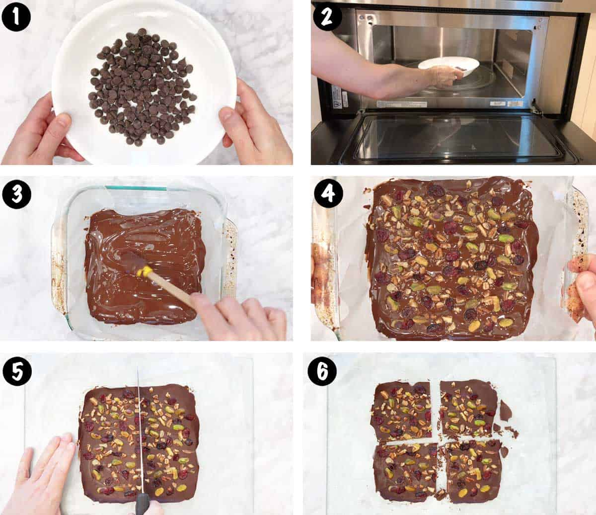 A photo collage showing the steps for making chocolate bark.