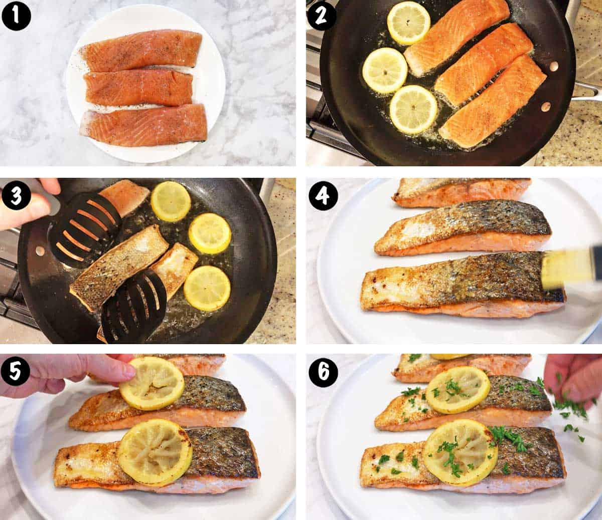 A photo collage showing the steps for pan-frying salmon fillets.