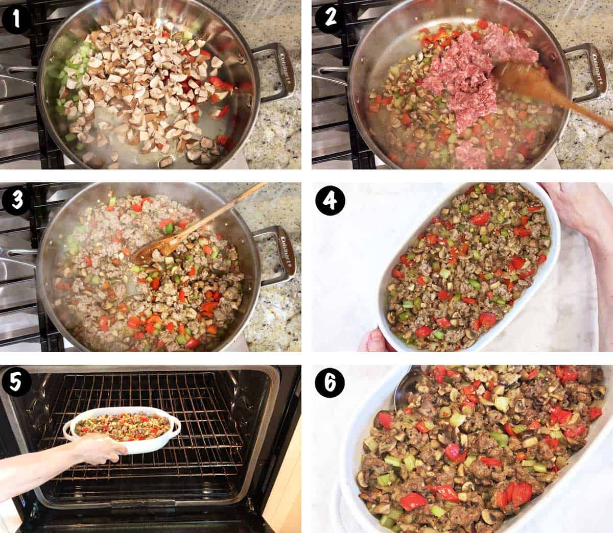 A photo collage showing the steps for making sausage stuffing.