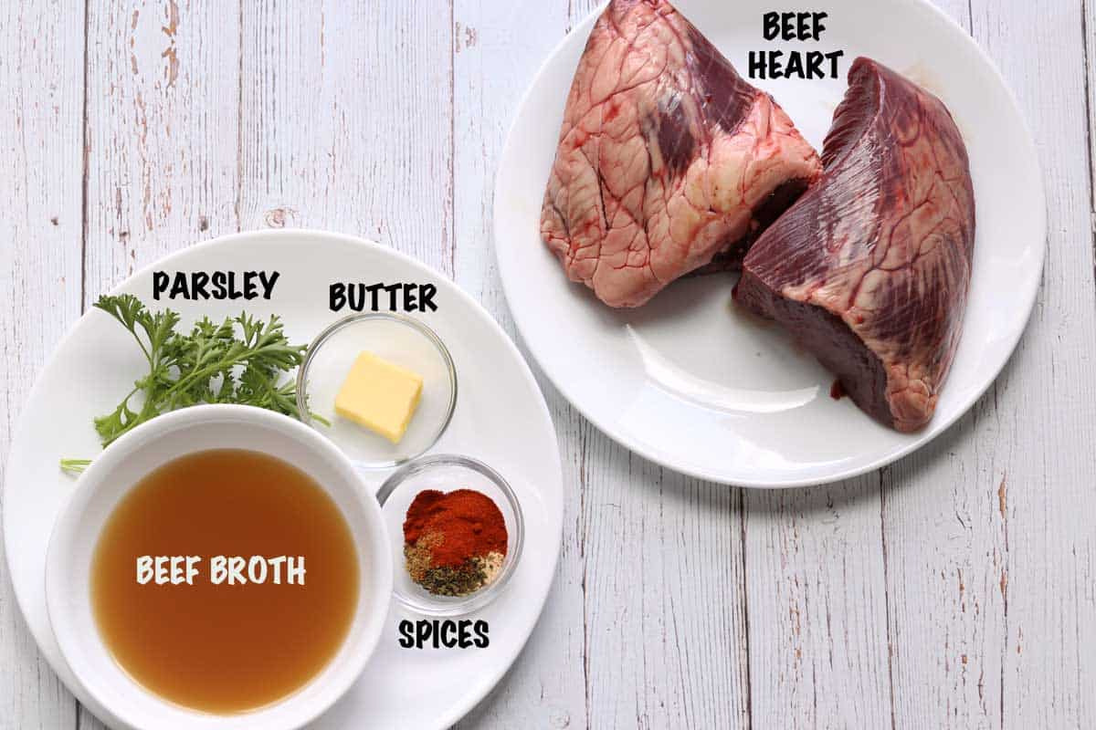 The ingredients needed to cook a beef heart stew.