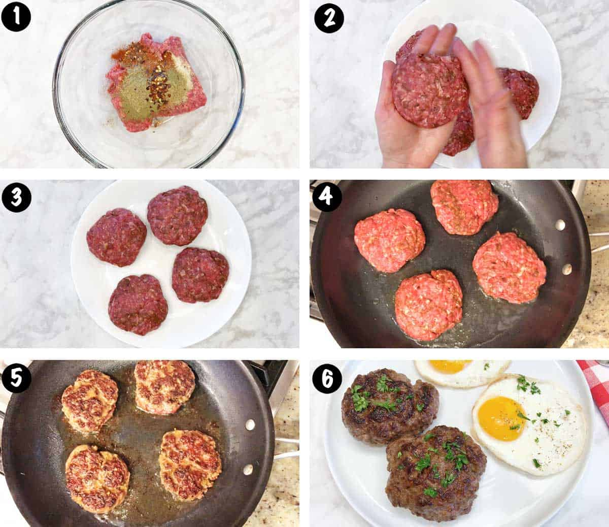 A photo collage showing the steps for making beef sausage.