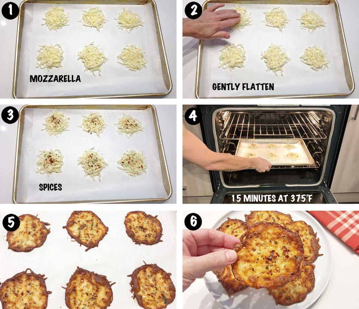 A photo collage showing the steps for making keto cheese chips.