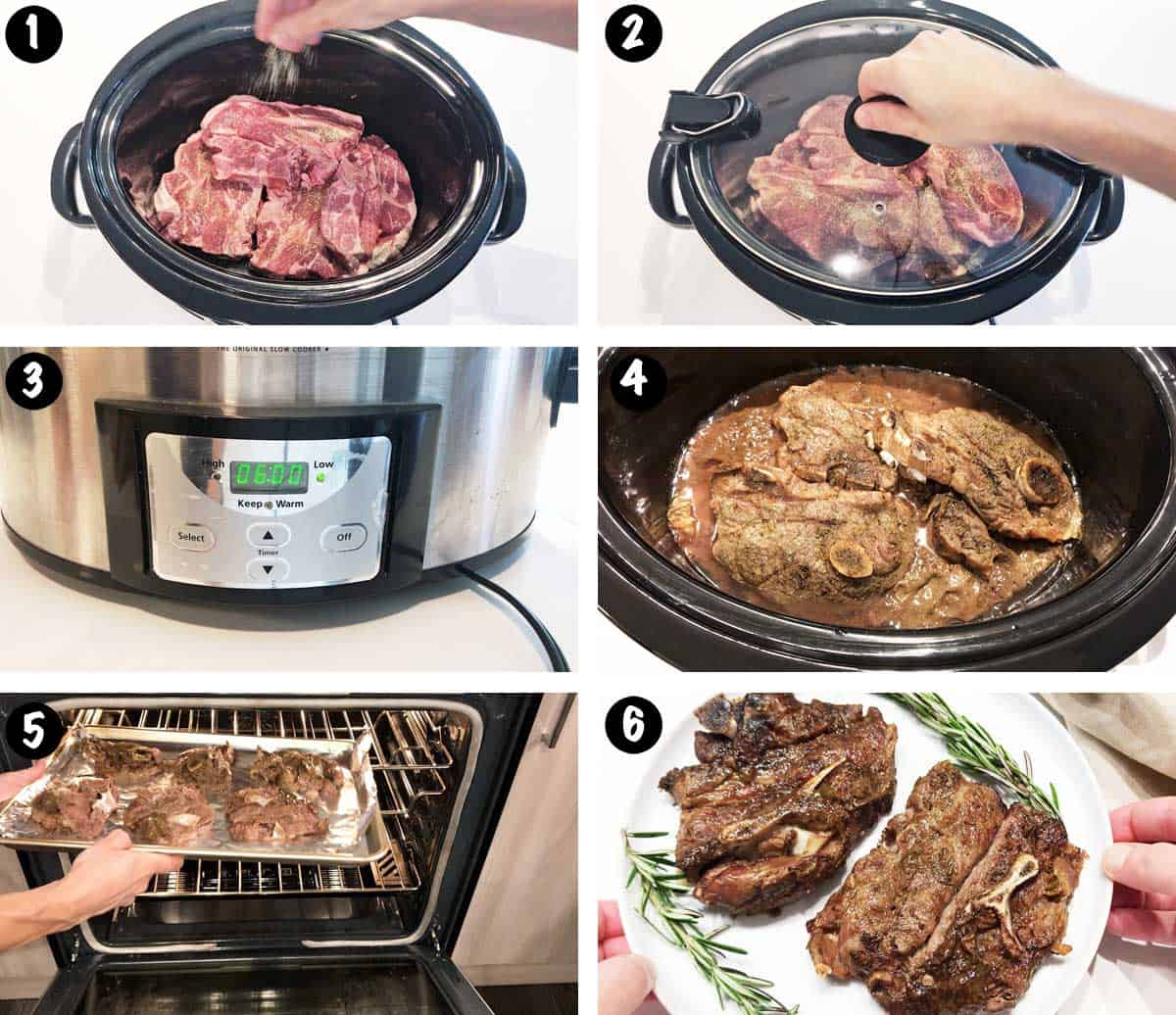 A photo collage showing the steps for cooking lamb shoulder chops in the slow cooker.