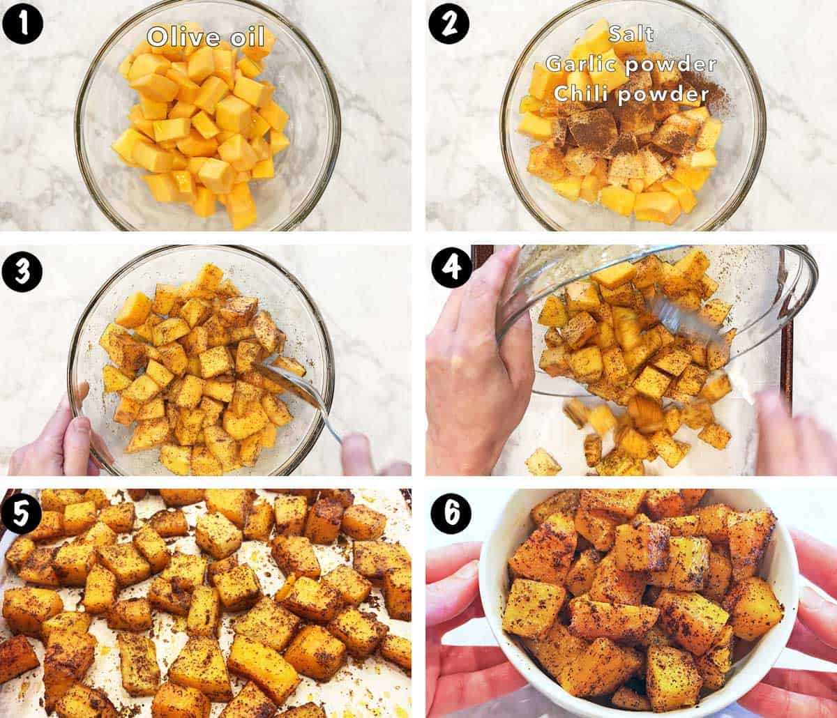 A photo collage showing the steps for roasting butternut squash.