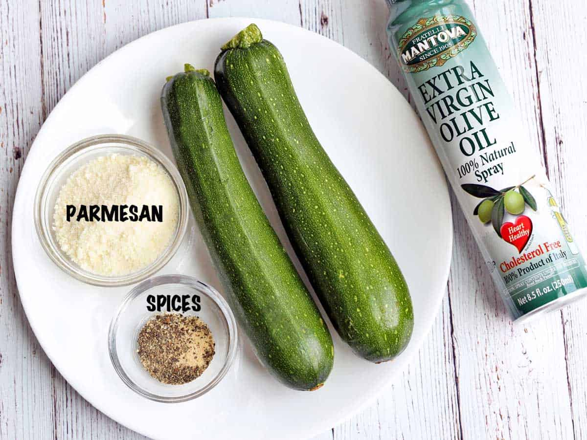 The ingredients needed to make zucchini chips.