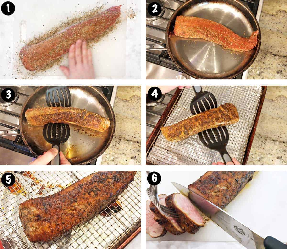 A photo collage showing the steps for making roasted pork tenderloin.